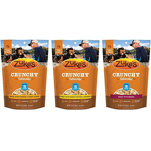 Zuke's Crunchy Natural 10 Baked Dog Treats Variety Pack – 12 Ounce – 3 Flavors – Baked Berries, Peanut Butter & Banana, and Pumpkin & Sweet Potato (3 Pack)