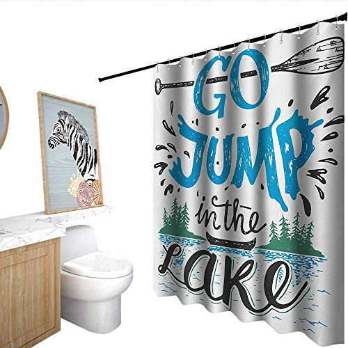 Cabin Funny Shower Curtain Vintage Typography Inspirational Quote Lake Sign Canoe Fishing Sports Theme Goof Proof Blue Black Green