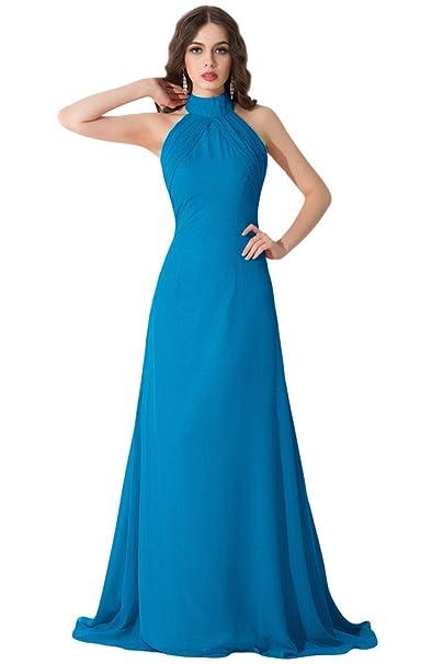 Sunvary cuello en V gasa Empire cintura Prom noche vestidos con negro appliques