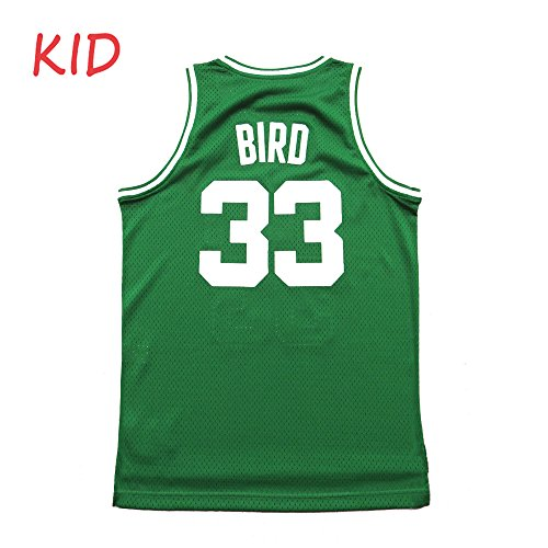 Kids Bird Jersey Youth Basketball Athletics 33 Boys Larry Boston Green Size (L(13-16Years Old))