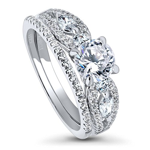 BERRICLE Rhodium Plated Sterling Silver Solitaire Engagement Wedding Ring Set Made with Swarovski Zirconia Round 1.71 CTW Size 6