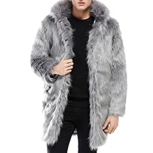 JollyChic Men's Long Hair Faux Fox Fur Hooded Thicken Winter Coat (L, Black)