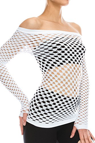 Kurve Stretchy Fishnet Long Sleeve Top -Made in USA- (One Size (Xs-Med), White)