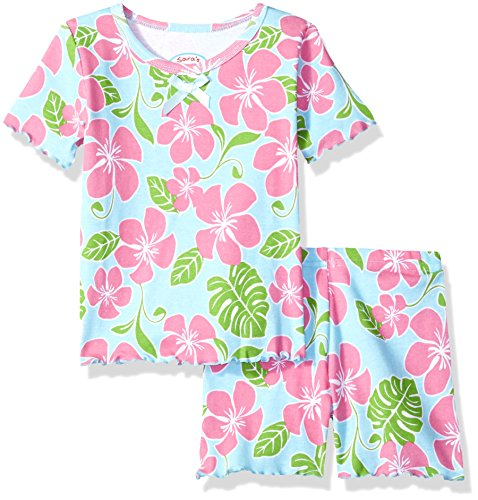 Pjs Short Fitted (Sara's Prints Girls' Little Fitted Short Pajamas, Tropical Floral/Turf 5)