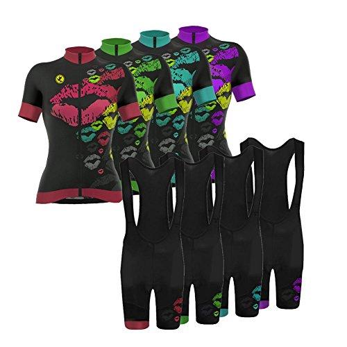 Free Cycling Bib Short (Uglyfrog Women's Cycling Jersey Bib Shorts Sets Short Sleeve 3D Gel Padded)