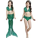 Girls 3 Pcs Sets Mermaid Tail Swimmable Bathingsuit Mermaid Tail Swimmable Costume Swimsuit
