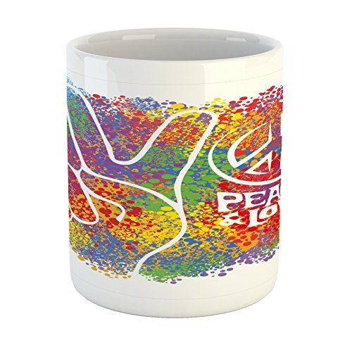 Ambesonne 70s Party Mug, Hippie Peace and Love Symbol and Signs Two Fingers Pacifist Colorful Design Art, Printed Ceramic Coffee Mug Water Tea Drinks Cup, Multicolor