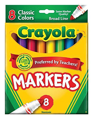 Markers Broad Point Washable - Crayola Non-Washable Markers, Broad Point, Classic Colors, 8/Set (58-7708) Case of 24 Packs