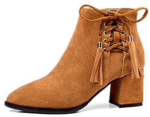 Zipper Block Abaay Boots 6 Heel 3CM Arraysa Brown Women qpwzIx6O