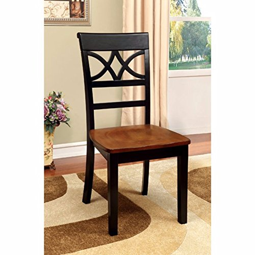 Cottage Oak Finish Seat - Torrington Cottage Side Chair With Wooden Seat, Black & Oak Finish, Set of 2