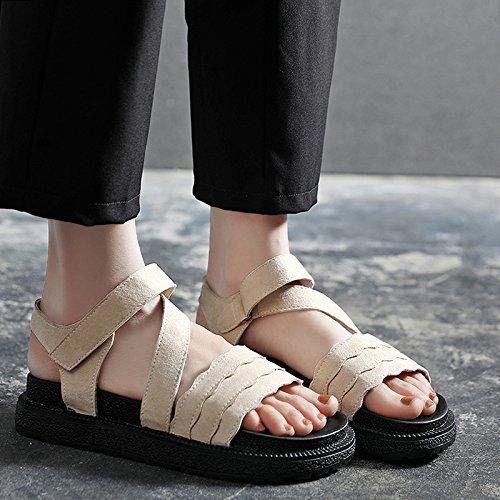 Sandalias YMFIE de la Manera Antideslizantes cómodas Rice white Dedo del Sandalias Fondo Plano de del pie Verano del dgOgxq