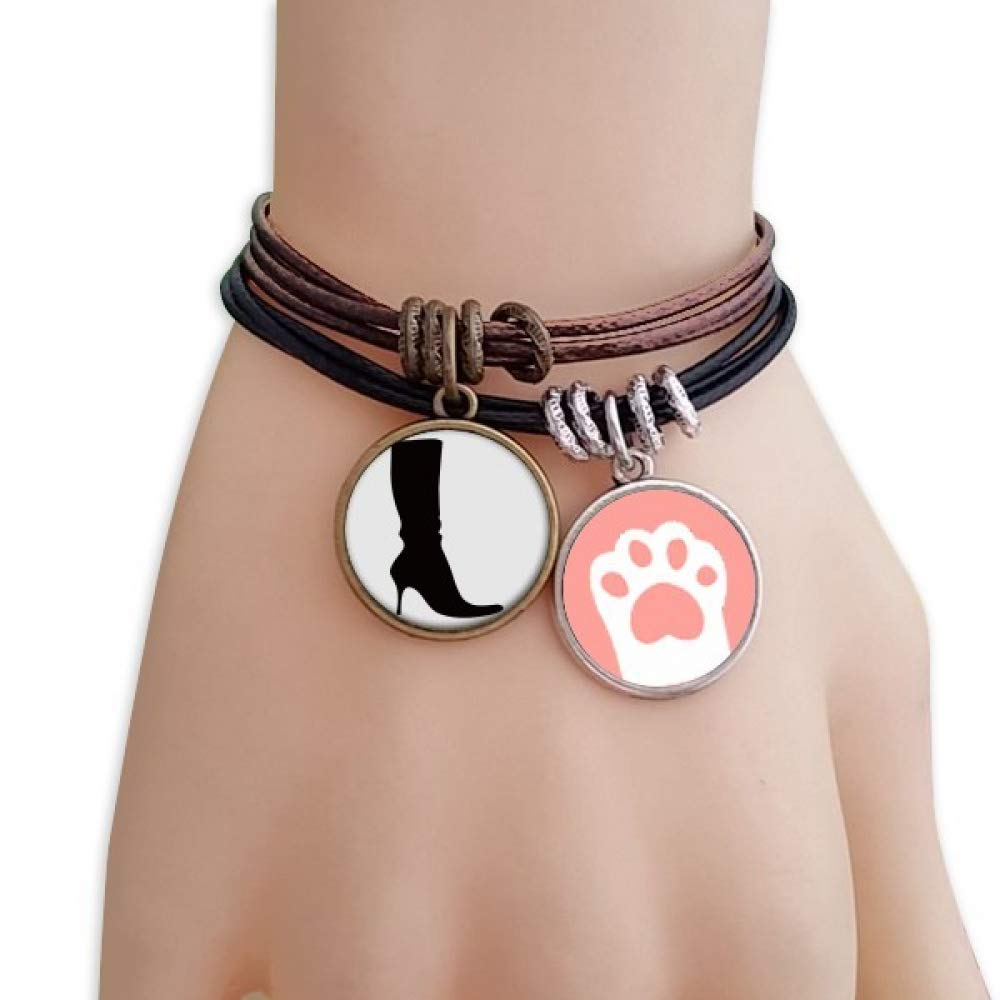 DIYthinker Simple Pattern Black High Boots Silhouette Cats Bracelet Leather Rope Wristband Couple Set