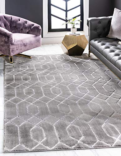 Unique Loom Marilyn Monroe Glam Collection Textured Geometric Trellis Gray Silver Area Rug (9' 0 x 12' 0) ()