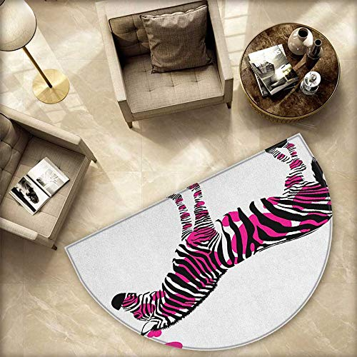 (Pink Zebra Semicircular Cushion Zebra in Love Figure with Hearts Pastel Valentines Wedding Anniversary Entry Door Mat H 78.7