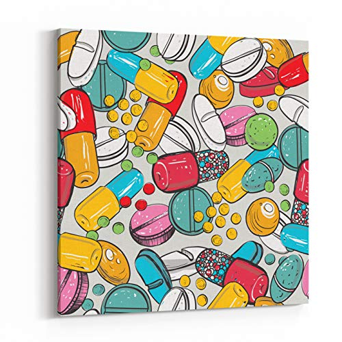 (Rosenberry Rooms Canvas Wall Art Prints - Healthcare Background with Dragee, Pilule, Pill, Caplet, Capsule, Tablet, Aspirin Hand Drawing Vector Seamless Texture with Pharmaceutical (12 x 12 inches))