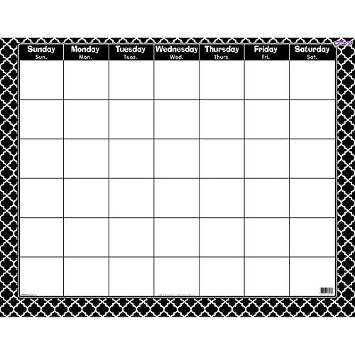 Trend Monthly Calendar - TREND enterprises, Inc. T-27023BN Moroccan Black Wipe-Off Calendar, Monthly, Pack of 6