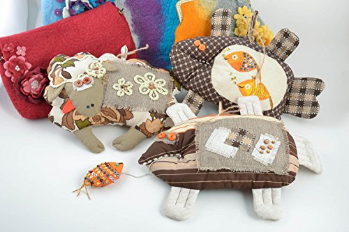 (Set Of 3 Beautiful Handmade Soft Toys With Eyelets Wall Hangings Fish And Lamb)