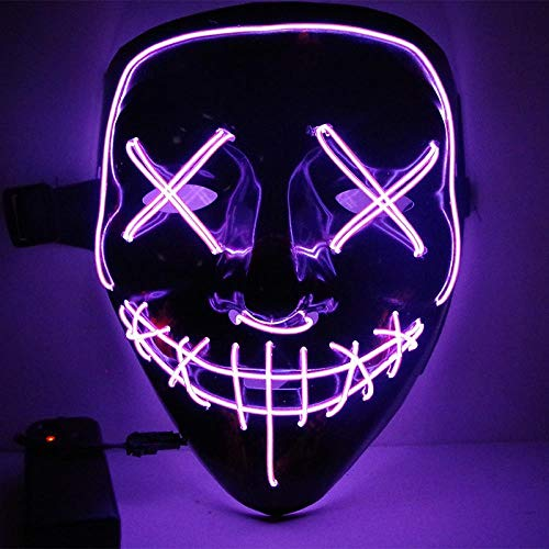 LED Mask Halloween Party Mask Masquerade Mask Neon Maske Light Glow in Dark Mascara Horror Maska Glowing Mask Clear, Purple -