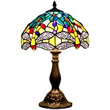 Tiffany style table lamp light S128 series 18 inch tall green yellow dragonfly shade E26
