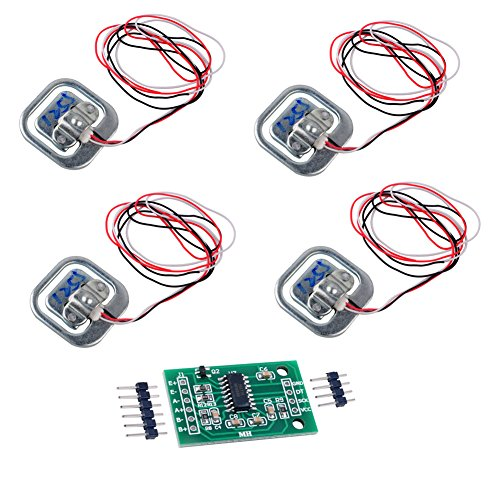 4pcs 50KG Load Cell Half-Bridge Human Body Scale Weight Weighting Sensor with 1pc HX711 AD Module Amplifier for Arduino WIshioT