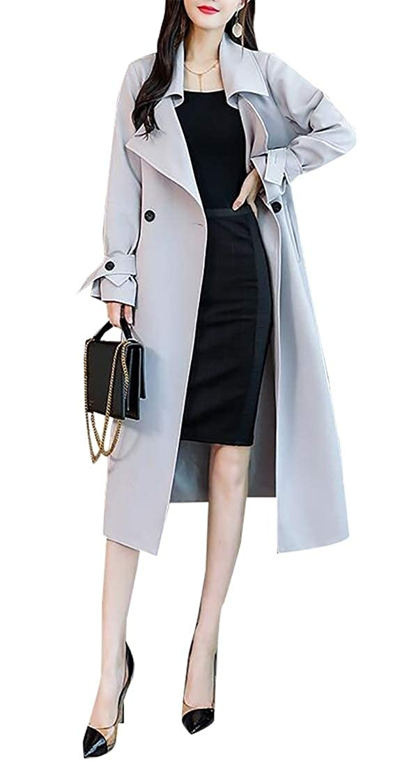 2 LEISHOP Women Casual Open Front Cape Trench Duster Fur Hooded Coat Overcoat