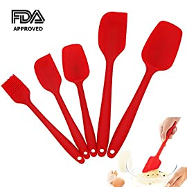 Silicone Spatula Set of 5 Premium Kitchen Utensils - Hygienic One-Piece Design Rubber Spatulas with Flexible Blades and Strong Steel-Core Handles, Nonstick Spatulas Spoon for Baking, Scraping, Cooking 3 ★STURDY METAL CORE - The strength of internal stainless steel core will hold up to the demanding use of home cooks and professional chefs and won't break like other cheap plastic spatulas. Our spatulas striking the right balance between strength and flexibility. ★ERGONOMIC DESIGN - Durable one piece construction make sure that no seams or cracks to trap food and bacteria means these spatulas clean up easy and keep your food safe. ★FOOD GRADE SILICONE - Our FDA Approved silicone spatulas is safety-tested and BPA-free, heat resistant up to 446°F, perfect for use with hot foods and around the cook top.