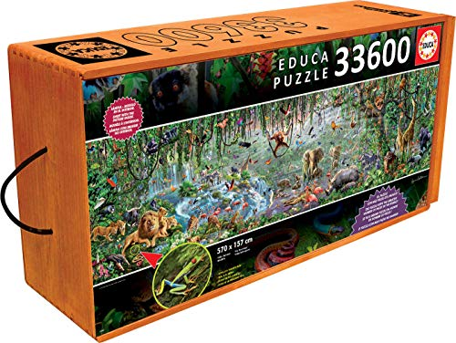 Educa 33,600 Piece Wild Life Puzzle with Wheeled Wooden Carry Case (Piece 5000 Puzzle)