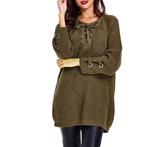 FCYOSO Women's Long Sleeve Lace up Knit Pullover Deep V-neck Sweater (One Size) Army Green (Sahalie Cardigan)