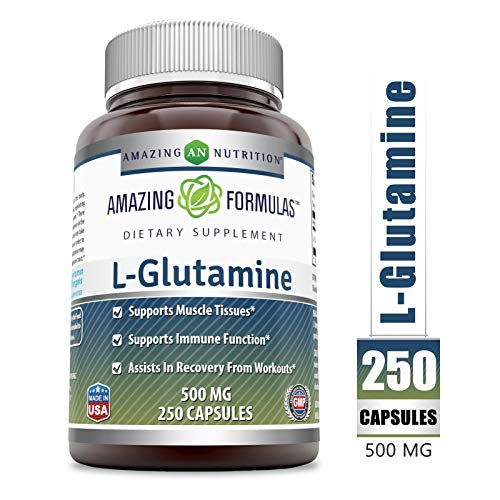 Amazing Formulas - L-Glutamine Dietary Supplement - 500 Milligrams - 250 Capsules (Non-GMO) - Promotes a Healthy Immune System - Supports Muscular System*
