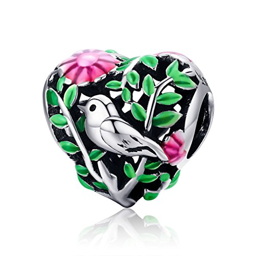 Sterling Silver Heart Bead - LeeFeel Bird Floral Heart Beads Charm 925 Sterling Silver Bird in Woods Leaves Charms Fit Charm Bracelet & Choker Necklace