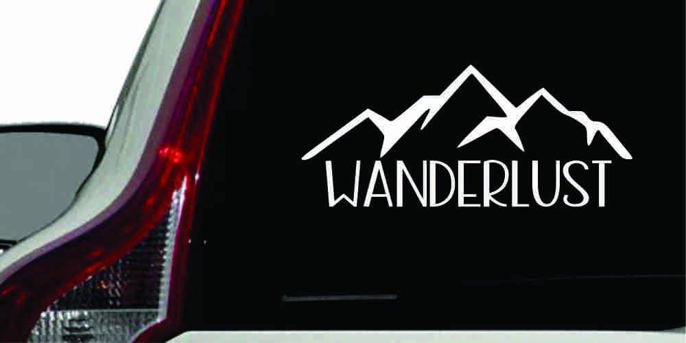 Wanderlust Mountain Version 1 Car Vinyl Sticker Decal Bumper Sticker for Auto Cars Trucks Windshield Custom Walls Windows Ipad MacBook Laptop Home and More (White)