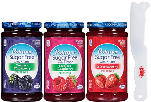 Polaner Sugar Free Preserves 13.5 Ounce Variety, Blackberry, Raspberry, Strawberry with By The Cup Spreader ()