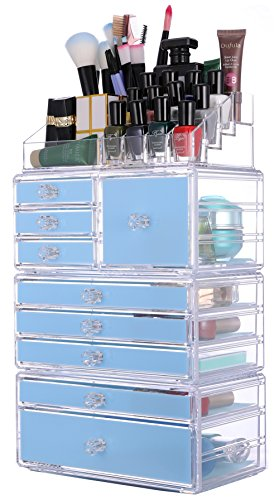 Sooyee Stackable Acrylic 9 Tier 9 Blue Drawers and 16 Grid Stackable Cosmetics Makeup Organizer and Jewelry Storage Display Box Countertop,Clear 4 Pieces Set(9.44X5.35X14.5 Inches) by Sooyee