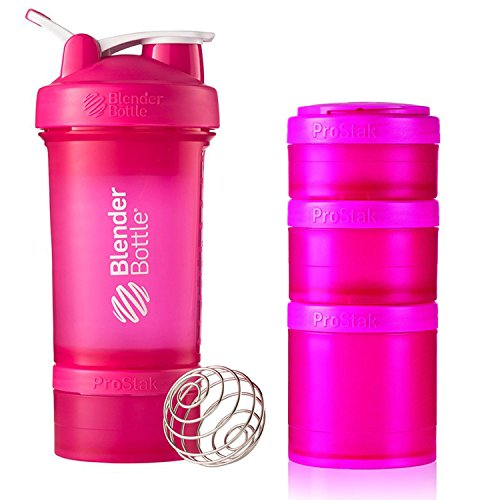 BlenderBottle ProStak 22 Oz Bottle with 6 Piece Twist n' Lock Storage Set, Pink