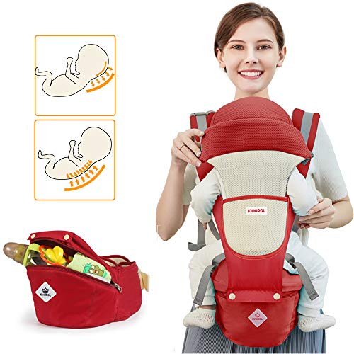 Baby Carrier Soft Sling All Carry with Hip Seat 360 Positions Award-Winning Ergonomic Child and Newborn Seats (RED) (Best Baby Carrier For 3 Month Old)