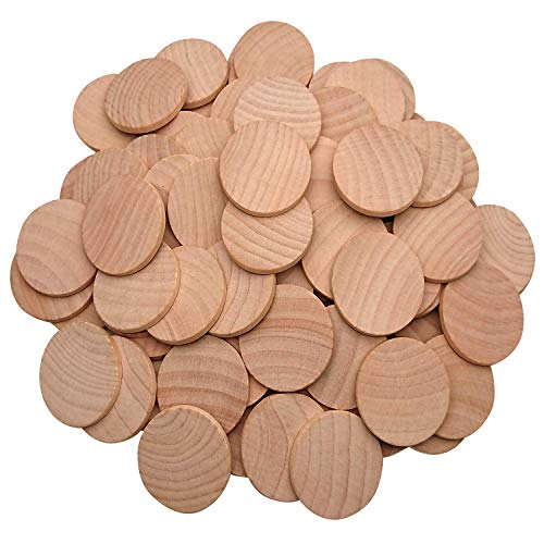 AxeSickle Natural Wood Slices 1.5 inch Unfinished Round Wood 50 pcs These Round Wood Coins for Arts & Crafts Projects, Board Game Pieces, Ornaments, The Limitations are Endless 50 per Pack.