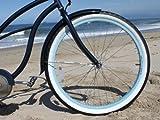 sixthreezero Women's Single Speed Beach Cruiser Bicycle, Classic Dark Blue w/Brown Seat/Grips, 26' Wheels/17 Frame
