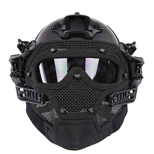 WoSporT Tactical Helmet ABS Plastic PJ Fast Helmet with Low-carbon Steel Mask PC lens Goggle for Motorcycle Airsoft Paintball BB CS Games Hunting Shooting Movie prop (Black)