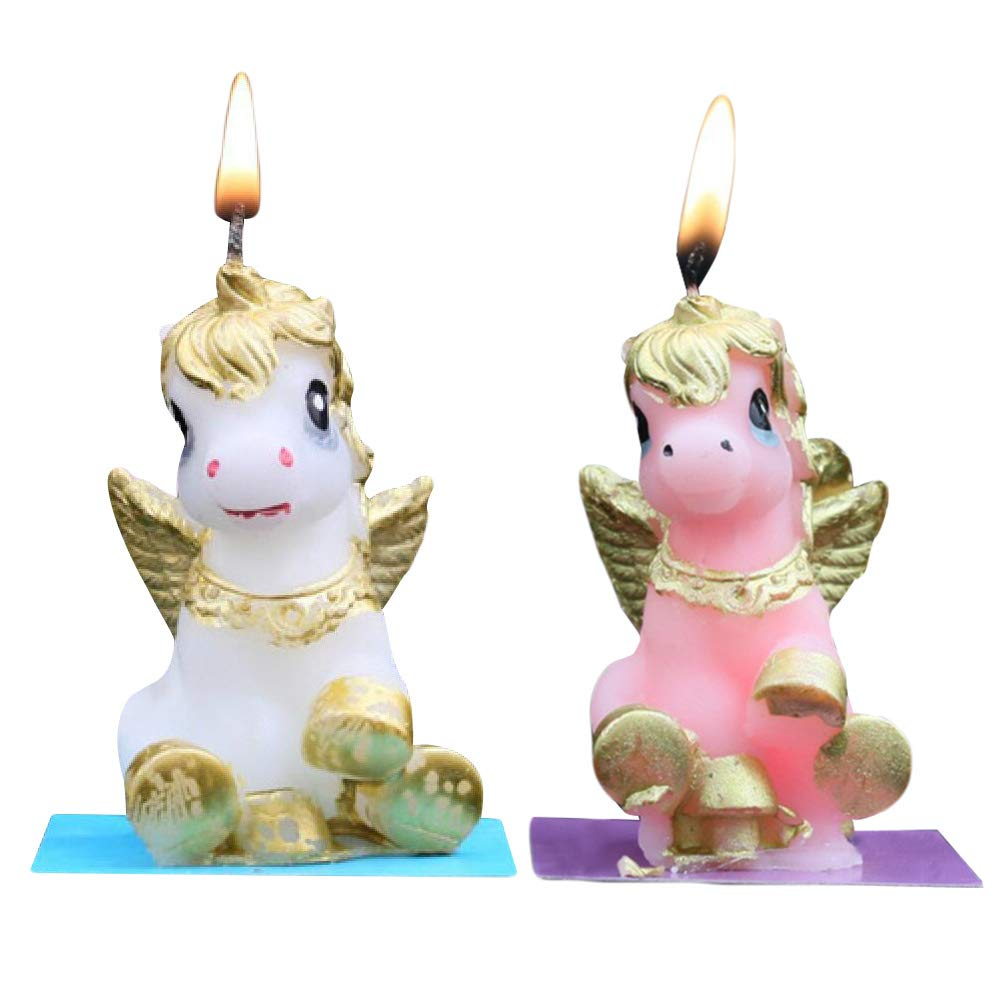 Amazon.com: BESTOYARD 2pcs Unicorn Candles Smokeless Cake ...