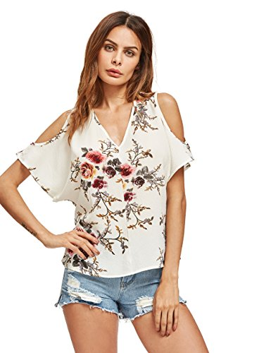 Romwe Womens Casual Cold Shoulder V Neck Floral Print Short Sleeve Blouse Shirt Top Multicolor Xl