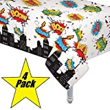 "Toys : 4 Pack Superhero Plastic Table cover 54"" x 108"""