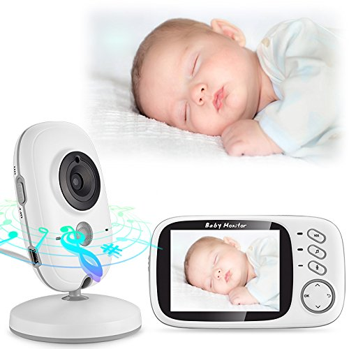Baby Monitor 3.2inch LCD Display Video Baby Monitor with Night Vision and Temperature Monitoring and Lullabies