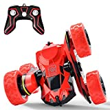 Threeking Rc Stunt Car Remote Control Off-Road Truck Double Sided Tumbling 360 Degree Rotation 3D Deformation Dance Car 1:28 2.4Ghz Rechargeable Stunt Car Great Gift for Kids - Red