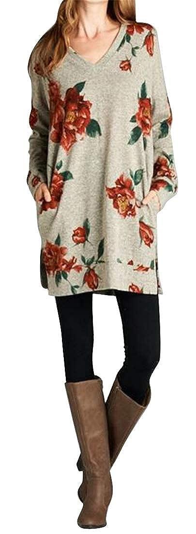 ARTFFEL Womens Long Sleeve Split Floral Print T-Shirt Top Pullover Sweatshirt