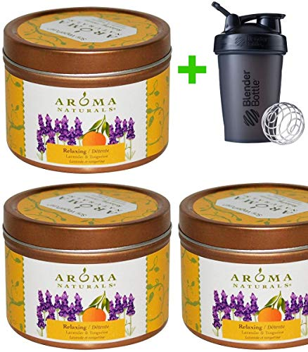 Aroma Naturals, Soy VegePure, Travel Tin Candle, Relaxing, Lavender & Tangerine, 2.8 oz (79.38 g)(3 Packs)+Sundesa, Blender Bottle, Classic with Loop, 20 oz