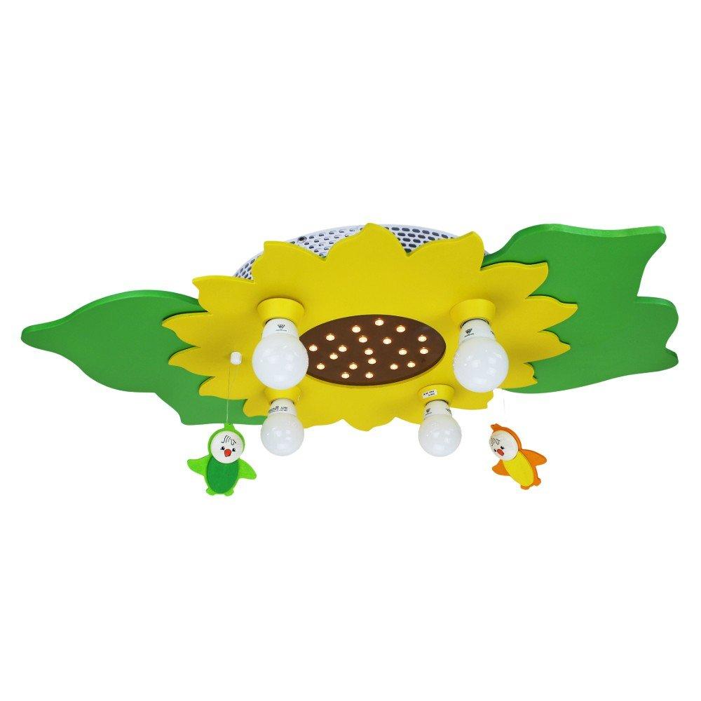 LED Sonnenblume Mobile gelb/grün 4er Deckenlampe elobra 128305 (128312)