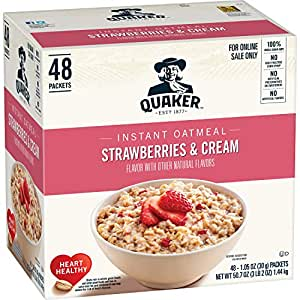 Quaker Instant Oatmeal, Strawberries & Cream, 1.05oz Packets (48 Pack)