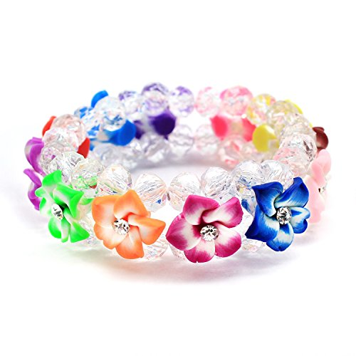 Hawaii FIMO Vibrant Stretch Plumeria CZ Luau Bracelet in Edge - Hawaiian Plumeria Bracelet