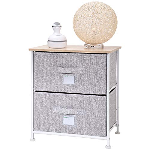 Ollieroo Fabric 2-Drawer Storage Organizer Dresser Home Organizer Bedside Table End Tables - Linen