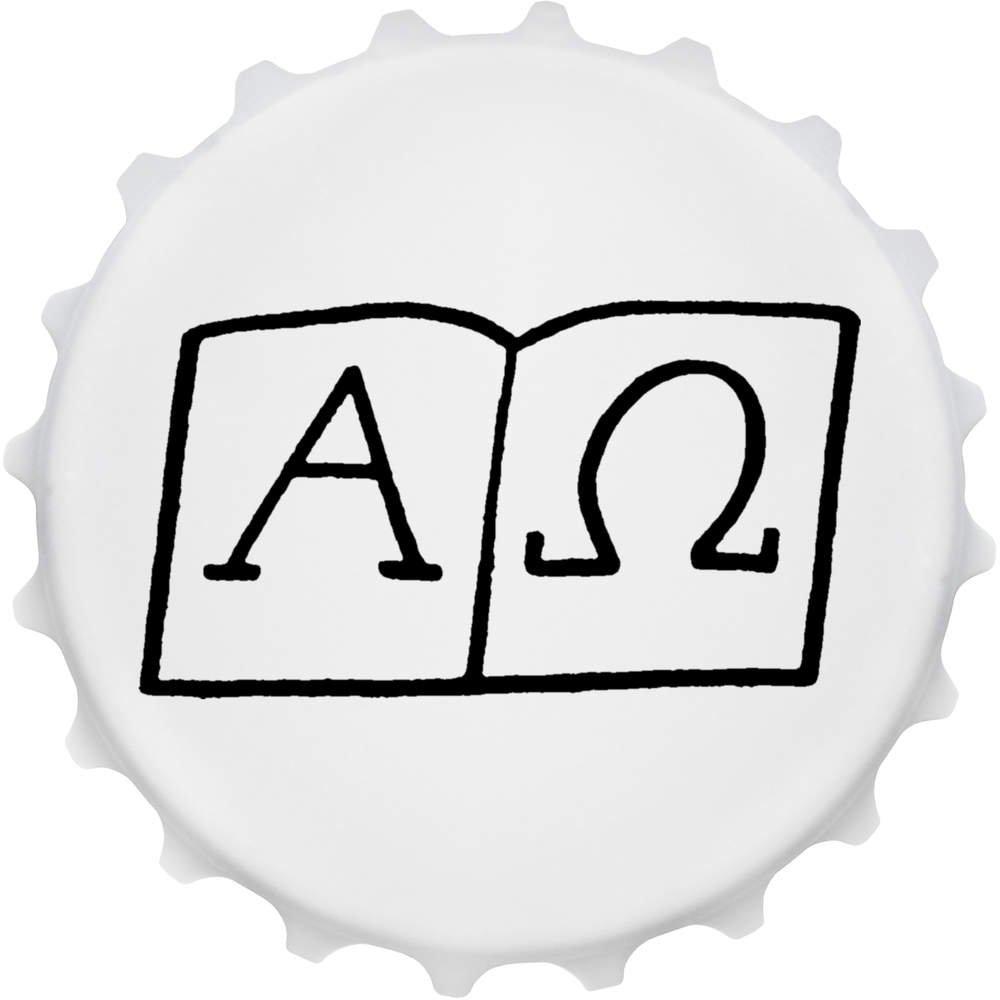 Símbolos Alfa y Omega Imán del Refrigerador del Abrebotellas (BO00014306): Amazon.es: Juguetes y juegos